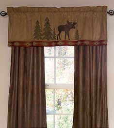 A Cabinplace.com Exclusive! This valance and drape set will definitely create a lodge style look with its majestic moose and pines scene. The scene is set on a soft, adobe colored micro-suede fabric that is trimmed with a southwestern geometric design and paired with a solid color chocolate micro-suede drape.