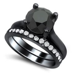 255Ct Black Round Diamond Engagement Ring Band by FrontJewelers, $1480.00