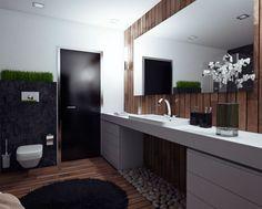 Vizualizácia tejto kúpeľne je nádherným príkladom kombinácie moderného dizajnu s prírodnými prvkami. Použité prírodné materiály v podobe tmavých...