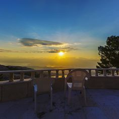 #tbt - (captured from the balcony of Father Fabian's home in Mt.Nebo near where the prophet Moses is buried close to the Dead Sea). Why did I choose to place two chairs here instead of one? I never noticed it till now. I think because a scene and a sunset like this one and the mood I was in plus the emotion was calling on me to share this view. A moment and an experience such as this one on that day called on to be shared. And I honestly don't remember if I was thinking of anyone in…