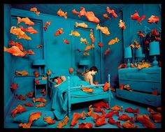sandy skoglund-beautiful color. I love the contrasting colors here. I like that this photographer sticks to a theme of contrasting colors and patterns in all of her work.
