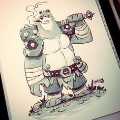 Inktober Day 25 - The Bear A thug I designed for RuinWorld. Checkout the comic at www.facebook.com/ruinworld #inktober #inktober2016 #ink #brushpen #brushmarker #promarker #characterdesign #indiecomics #ruinworld #dereklaufman