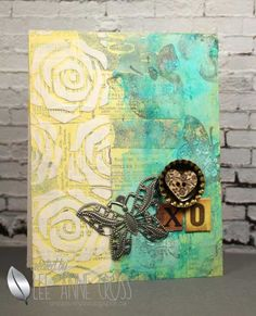 Card by Lee-Anne using Trendy Butterflies and ARTplorations Old Rose Prints stencil