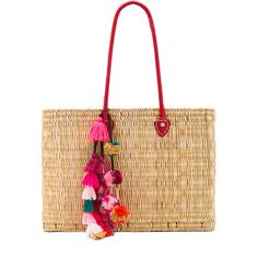 MISA Los Angeles Jane Large Box Bag (48 KWD) ❤ liked on Polyvore featuring bags, handbags, hand bags, woven straw bag, purse bag, woven handbags and white handbags