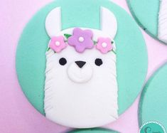 12 Llama fondant cupcake toppers -llama Baby Shower - Llama cupcake toppers - Llama birthday party- Llama toppers - cupcake toppers