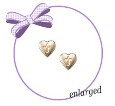 14kt Gold Hearts with Cross Earrings.