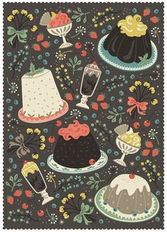 Sweet Deserts by Anna Deegan, via Behance