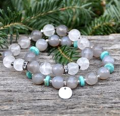 Hey, I found this really awesome Etsy listing at https://www.etsy.com/listing/215855223/grey-turquoise-pyrite-bead-bracelets-by