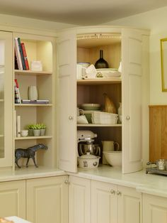Classic Kitchen Cabinet and Open Bookcase - New England Kitchen Style