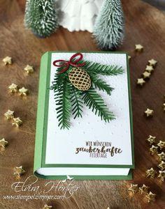 Tannenzauber (Christmas Pines), Tannen und Zapfen Thinlits (Pretty Pines Thinlits), Goldfolie (Gold Foil), Rotem Glitzerpapier (Red Glimmer Paper), Goldenem Pragerpulver (Gold embossing powder), Leise Rieselt EF (Softly Falling EF (exterior) - Blog Hop Herbst-Winterkatalog 2016