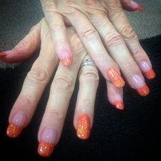 Fall nail art orange acrylic
