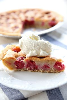 """Not overly sweet, this Brown Butter Raspberry Pie brings together the sweet-tartness of the raspberries and an amazing brown butter batter that fills and makes a simple """"crust"""" on the top of the pie. So delicious, a new favorite perfect for Thanksgiving and Christmas dinner. reallifedinner.com"""