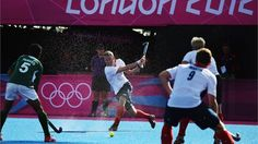 James Tindall of Great Britain in action during the Men's Hockey match between Great Britain and Pakistan on Day 7 of the London 2012 Olympic Games at Riverbank Arena Hockey Centre