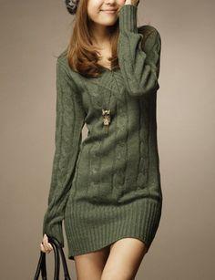 Vintage V-Neck Long Sleeve Solid Color Women's Sweater