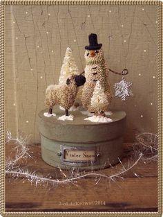 Cute standing snowman & sheep. Winter scene. LM 12-2014