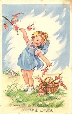 Vintage Illustration vintage print - carefreeness I felt as a child, which is why I LOVE pictures of the Éphémères Vintage, Images Vintage, Vintage Easter, Vintage Ephemera, Vintage Girls, Vintage Pictures, Vintage Children, Vintage Prints, Children Books