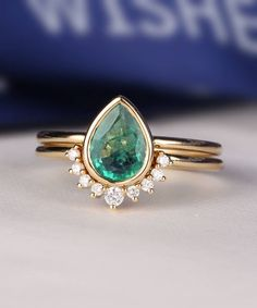 Emerald Engagement Ring Set Pear Shaped cut wedding ring women vintage Curved Band Diamond Bridal jewelry birthstone Stacking drop gift by HelloRing on Etsy https://www.etsy.com/listing/520686920/emerald-engagement-ring-set-pear-shaped