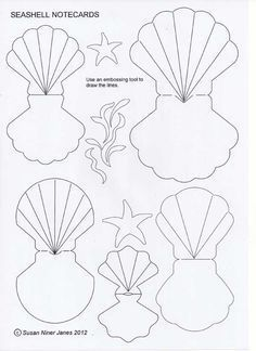 Fold-over seashells - fun as cards or gift tags. These seashell note cards are fun and easy to make. You can use them for a mermaid party!