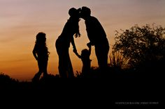 Family of four silhouette photograph taken on South Mountain in Phoenix