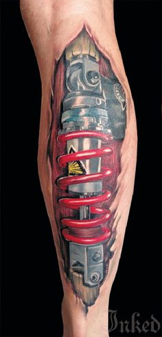 These tattoos are a perfect way to show the machine in the man...in the machine. - #tattoo, #robots, #mechanics, #body