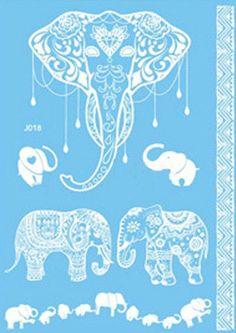 White Faux Henna Temporary Tattoo in Elephants gypsywillowspirit.com