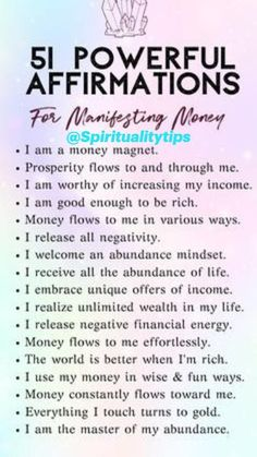 Positive Affirmations Quotes, Wealth Affirmations, Morning Affirmations, Law Of Attraction Affirmations, Affirmation Quotes, Positive Quotes, Motivational Quotes, Words Quotes, Life Quotes