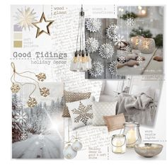 Good Tidings by nyrvelli on Polyvore featuring interior, interiors, interior design, home, home decor, interior decorating, Calvin Klein, Sur La Table, Mina Victory and Christmas