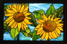 Sunflowers Stained Glass Window