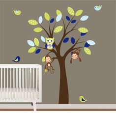 Children Vinyl Wall Decals Tree with BirdsOwls by NurseryWallArt, $79.99