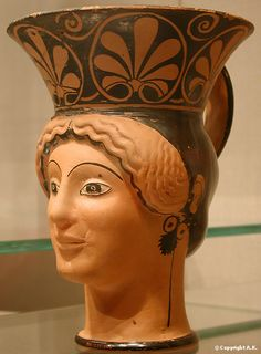 Terracotta mug in the form of a woman's head - Greek Art of the Fifth Century B.C. - Metropolitan Museum of Art