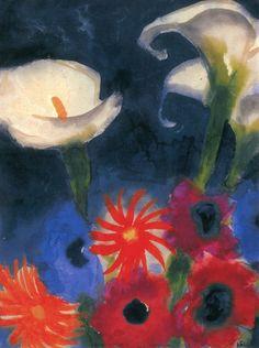 Calla Lilies, Anemones and Gerbera - Emil Nolde
