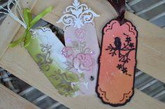 Anita's project using the Fancy Bookmark, Corner Flourish, Rose, Plumeria & Leaves dies