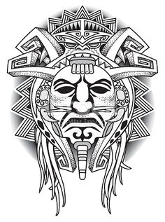 ethnic Warrior Tribal Mask Vector illustration