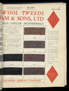 """SAMPLE BOOK, BRITISH STANDARD EXPORTER, 1928–29 Its medium is paper, cotton, wool, linen. Large cloth-bound book entitled """"British Standard Exporter."""" Contains samples of textiles – cotton, wool, linen, and synthetics from various English centers and firms. Completely indexed. Illustrated with photographs and advertising material."""