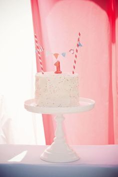 Put a Mini Banner on It. Baby's first birthday cake