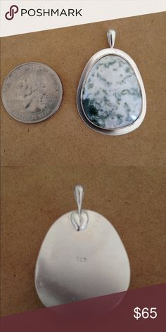 Moss Agate Pendant Handmade Wonderful Moss Agate set in stamped 925 sterling silver Handmade Jewelry Necklaces
