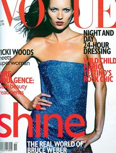 November 1997 Kate Moss wears electric-blue strapless chain-mail minidress to order at Versace; and Versace collections, Glasgow. Make-up all by Versace. Hair: Rick Haylor for John Frieda. Make-up: Virginia Young. Photography: Tom Munro. Fashion editor: Kate Phelan.