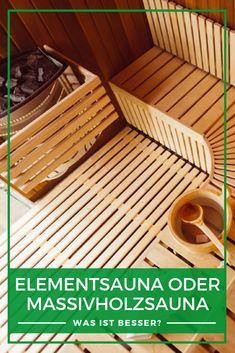 Sauna im Keller: Grundsätzlich gibt es zwei Bauweisen für Innensaunen. Entweder als Elementsauna oder als Massivholzsauna. In unserem Ratgeberartikel machen wir Sie mit den beiden bekannt und vergleichen Vor- und Nachteile sowie Aufwand und Kosten. Jetzt lesen! #Sauna #Vergleich #Saunenvergleich #Elementsauna #Massivholzsauna Sauna, Outdoor Furniture, Outdoor Decor, Outdoor Storage, Inspiration, Home Decor, Types Of Wood, Reading, Deco