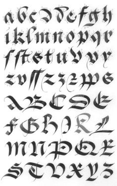 Beautiful gothic Alphabet to Print Letters Alphabet In Gothic Calligraphy Gothic Pictures Calligraphy Fonts Alphabet, Tattoo Lettering Fonts, Graffiti Lettering, Typography Letters, Caligraphy, Penmanship, Lettering Styles Alphabet, Gotisches Alphabet, Gothic Alphabet