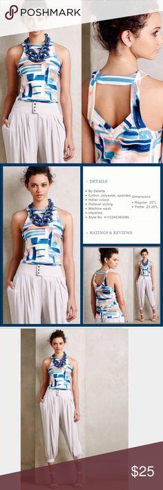 Anthropologie Deletta Isa Tank ✔️Halter ✔️Cut Out Back Detailing ✔️Pullover ✔️Cotton/Polyester/Spandex Blend ✔️Textured Knit ✔️Excellent Condition Anthropologie Tops