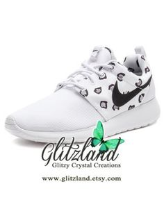 58101125b210 Blinged White Leopard Women s Nike Roshe
