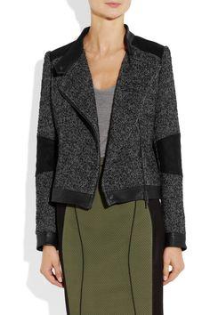Vanessa Bruno Athé|Leather-trimmed tweed biker jacket|NET-A-PORTER.COM