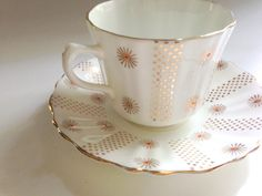 Royal Stuart Tea Cup and Saucer White Gold Cups by AprilsLuxuries ~ETS #royalstuartfinechina #vogueteam #etsygifts #goldandwhitechina