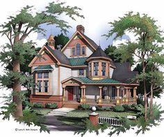 Queen Anne House Plan with 3064 Square Feet and 3 Bedrooms(s) from Dream Home Source | House Plan Code DHSW46677