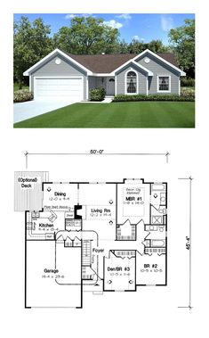 House Plan 20164 - Ranch, Traditional Style House Plan with 1456 Sq Ft, 3 Bed, 2 Bath, 2 Car Garage Ranch House Plans, New House Plans, Dream House Plans, Small House Plans, House Floor Plans, Addams Family House, The Plan, How To Plan, Br House