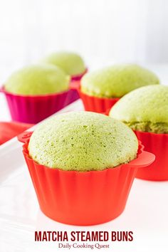 matcha steamed bunsYummy fluffy and soft Japanese matcha. matcha steamed buns Yummy fluffy and soft Japanese matcha (green tea powder) steamed buns with rice flour. These are gluten-free and not too sweet. Japanese Steamed Buns, Japanese Cake, Japanese Sweets, Japanese Matcha, Matcha Dessert, Matcha Cake, Baking Recipes, Cake Recipes, Dessert Recipes