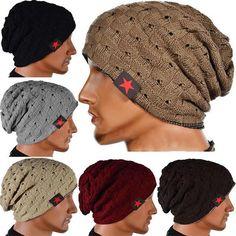 ee73280b30f Men Women Knitted Crochet Slouch Cap Baggy Beanie Wool Fleece Warm Winter  Hat US