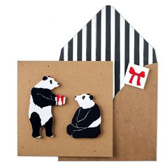 Handmade Birthday Card - Cute Animal Panda Card on Recycled Square Cards - Unique Printed Envelope with Seal - Birthday Card