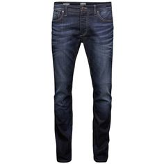 Jack & Jones Clark Original Slim-Fit Jeans ($98) ❤ liked on Polyvore featuring men's fashion, men's clothing, men's jeans, men, jeans, men's pants, pants, blue, mens jeans and mens slim cut jeans