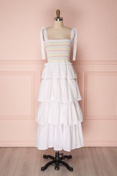 Eshan White Layered Ruffles Midi Dress With Stripes Corsage, Korean Street Fashion, Facon, Mi Long, Girly, Pretty Outfits, Ruffles, Bodice, White Dress